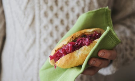 Pickled cabbage – great in a bun – with a sausage or pork or on its own.