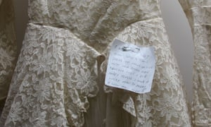 Note pinned to dress