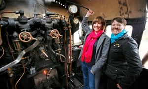Scottish Conservative leader Ruth Davidson (right) and her partner, Jen Wilson, riding a steam train in Scotland during the 2015 general election campaign.