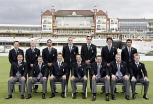 The Twenty20 England cricket team pose the day after their victory against Australia.