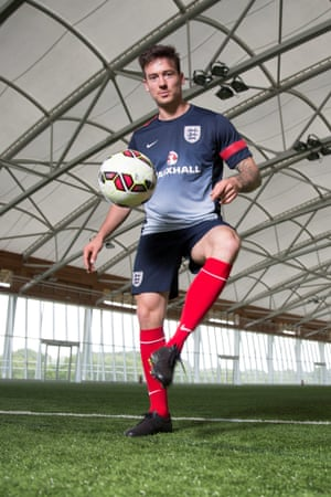 Jack Rutter does a few kick-ups at St George's Park.