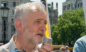 Jeremy Corbyn at a union rally on 14 June.