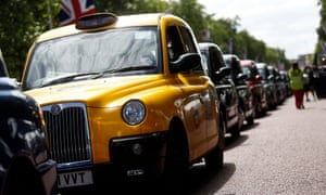 London cabs during a protest against Uber Technologies Inc.'s car sharing service in London