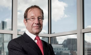 Richard Desmond in his office at Northern & Shell overlooking the City of London.