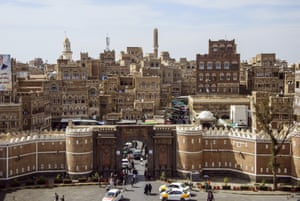 General view of medieval architecture of Bab al Yemen and the old city, Sana'a