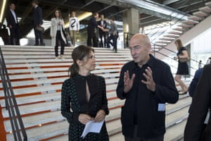 Dasha Zhukova, founder of the Garage Museum of Contemporary Art, with its architect, Rem Koolhaas, at the opening of the museum.