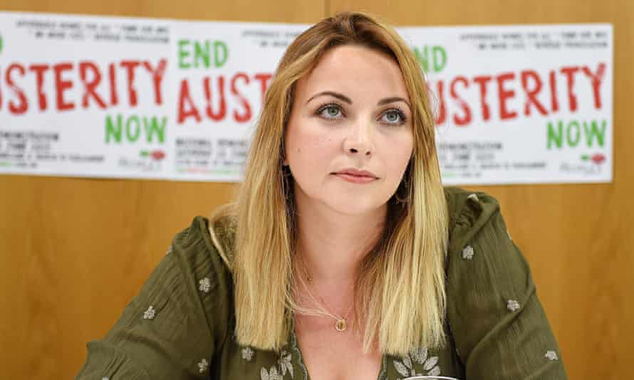 Charlotte Church at a press conference announcing a national anti-austerity march.