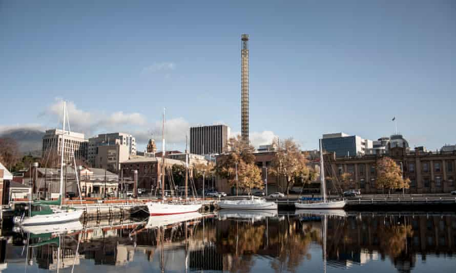 A visualisation of Detached's Art Tower on the Hobart skyline.