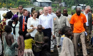 William Hague with Angelina Jolie at a refugee camp outside Goma in 2013.