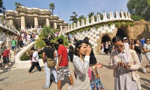 Tourists in Park Guell – Barcelona is Europe's third most-visited city.