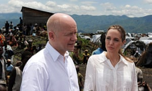 William Hague and Angelina Jolie at a Congolese refugee