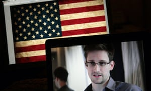 Edward Snowden taking part in an online Q&A session from Moscow last year.
