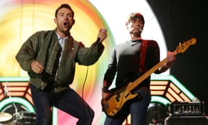 Blur performing on the main stage at the Isle of Wight Festival as Saturday night headliners.