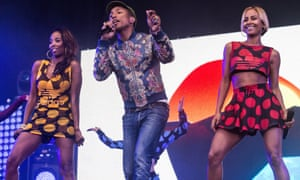 Pharrell Williams performing at the Isle of Wight festival 2015.