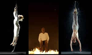 Stills from Bill Viola's Earth, Martyr, Air, Martyr, Fire Martyr, and Water Martyr video installation.