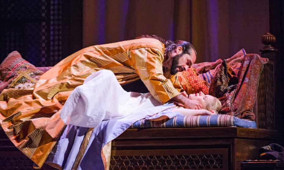 Franck Saurel (Pasha Selim) and Sally Matthews (Konstanze) in Die Entführung Aus Dem Serail by Mozart at Glyndebourne.