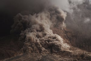 Karo, Indonesia Hot ash is emitted during an eruption of Mount Sinabung