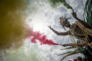 Rome, Italy Flares arelit in the colours of the Italian flag during the annual gay pride parade