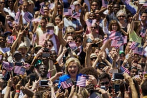 New York Democratic presidential candidate Hillary Clinton arrives at a rally to mark the start of her campaign in Franklin D. Roosevelt Four Freedoms Park on Roosevelt Island