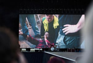Gothenburg, Sweden Dave Grohl, lead singer of the Foo Fighters, is seen on a screen as he addresses fans from the photographers' pit after falling and breaking his leg during the band's show at Nya Ullevi. Grohl returned to the stage after receiving treatment and completed his set.