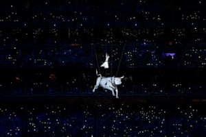 Baku, Azerbaijan: An artist performs during the opening ceremony of the 2015 European Games on the Olympic stadium