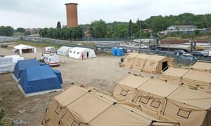 Temporary tent city for migrants set up by the Italian Red Cross in the area of Rome's Tiburtina station.