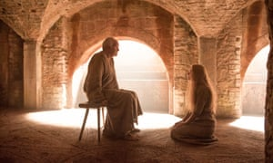 Bird watching… The High Sparrow hears Cersei's confession. Jonathan Pryce and Lena Headey.