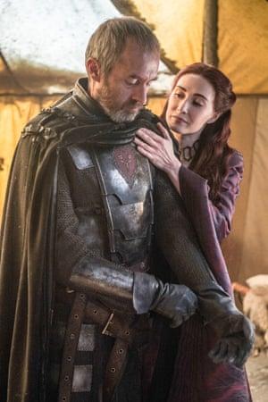 Melisandre and Stannis Baratheon - Carice van Houten and Stephen Dillane.