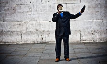 A man with a megaphone