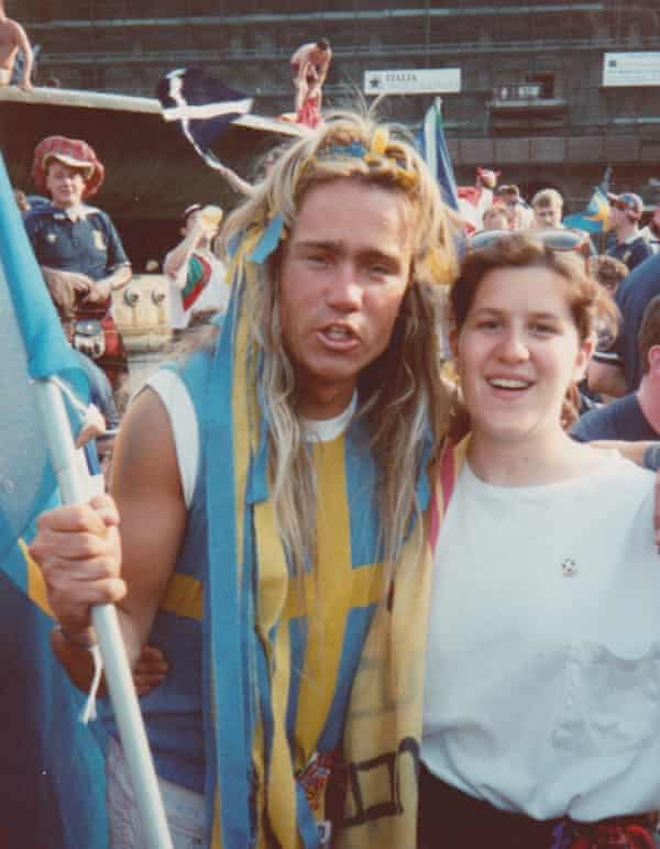 A young Amy Lawrence meets a Swedish fan in Genoa during the 1990 World Cup.