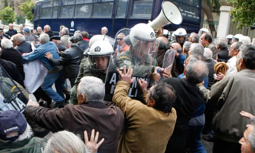 Greek pensioners demonstrating against pension freezes in Athens.