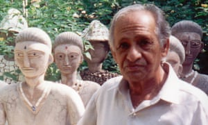 Nek Chand, with statues