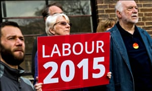 Party activists listen to Ed Miliband speak at a rally in Crouch End, north London during the 2015 general election campaign