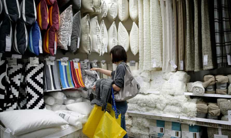 A shopper in a furniture store