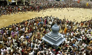 Hindu devotees assemble for the last Kumbh Mela held in Nashik, in 2003. At least 39 people were killed in a stampede as millions gathered for the bathing festival.