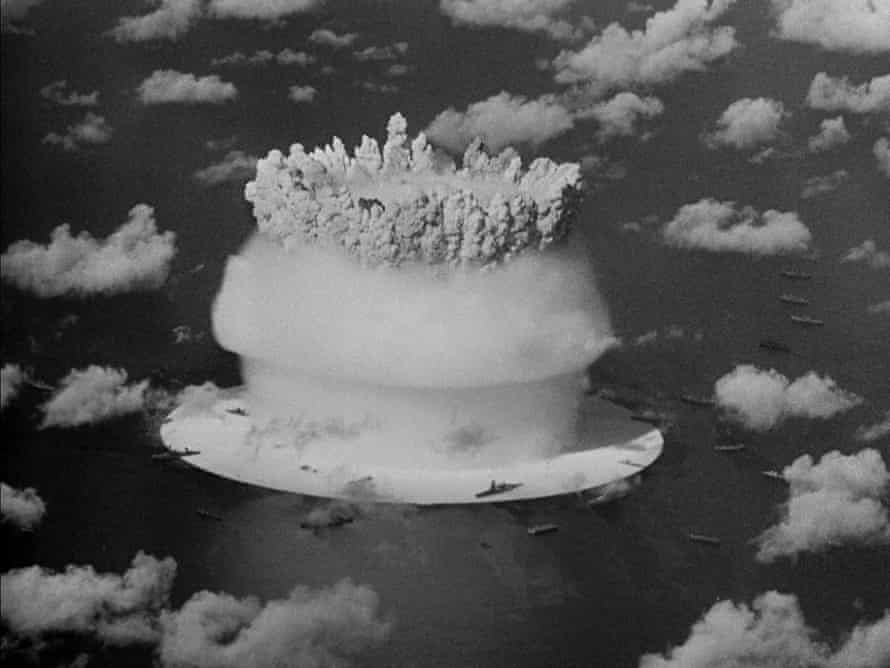 Viewed from every angle ... ships surround the explosion at Bikini Atoll