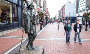 a statue of James Joyce in North Earl Street, Dublin