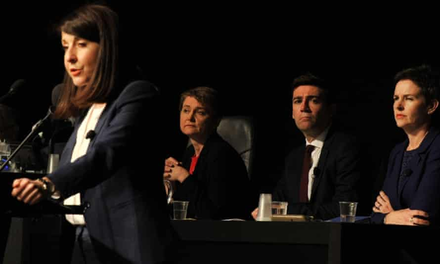 Labour leadership candidate Liz Kendall speaks on stage as fellow candidates Yvette Cooper, Andy Burnham and Mary Creagh listen at the Labour leadership hustings in Citywest hotel on June 9, 2015 in Dublin, Ireland.