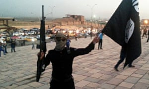 Armed Isis flag-waver, Mosul