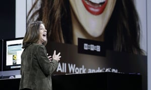 Apple executive Susan Prescott demonstrating Apple News at WWDC.