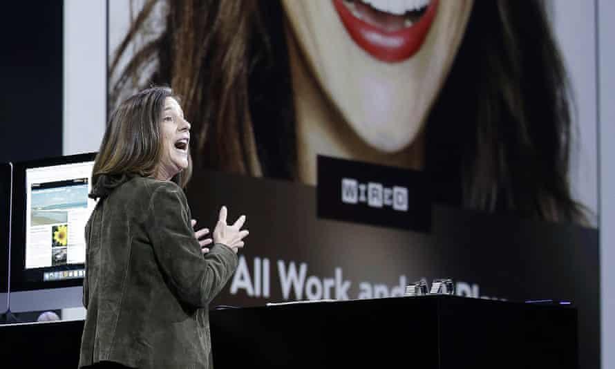 Apple executive Susan Prescott demonstrating Apple News at WWDC.