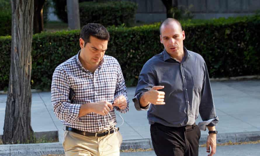 Greek premier Alexis Tsipras (L) and Greek finance minister Yanis Varoufakis (R) in central Athens, Greece.