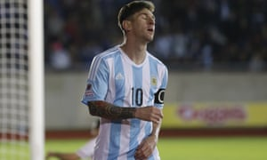 f7201d548 Argentina s Lionel Messi reacts after missing a chance to score against  Paraguay during their Copa América