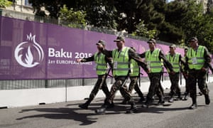 Azerbaijani soldiers march in front of the athletes village ahead of the first European Games.