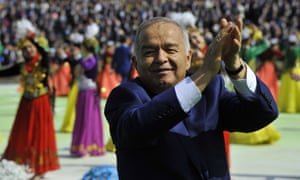 Uzbekistan's president Islam Karimov applauds during festivities following his landslide reelection in March