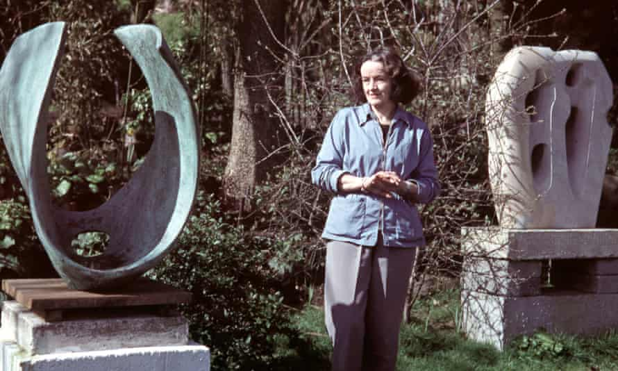 St Ives, Cornwall, England, May 1957, English sculptor Barbara Hepworth is pictured with some of her completed works.