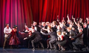 Corinne Winters as Violetta with Ben Johnson as Alfredo, far left, in La traviata at ENO.