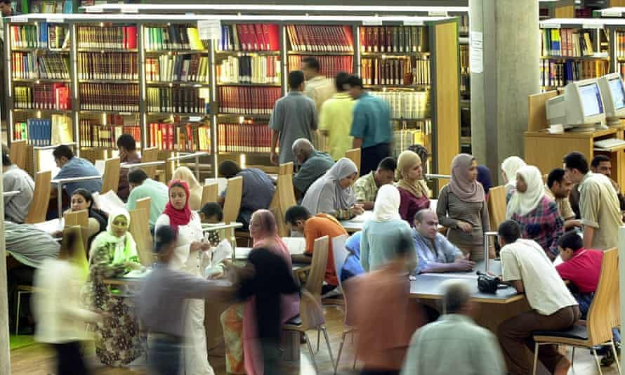 Egyptians crowd one of the reading sites in Bibliotheca Alexandrina, Alexandria library in Alexandria Egypt. The library aspires to reflect the spirit of the ancient Bibliotheca, founded around 295 BC by Ptolemy I Soter, the successor of the city's founder, Alexander the Great.