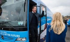 David Cameron on campaign bus