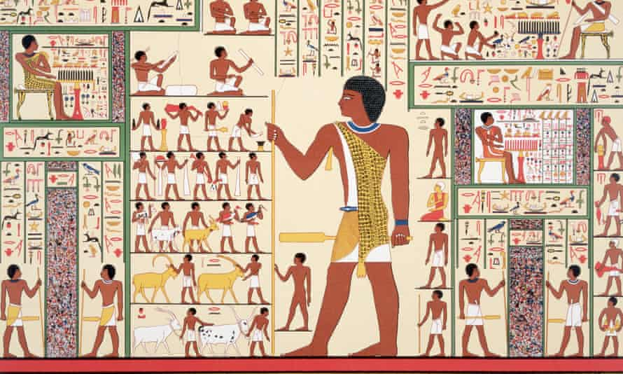 Ancient Egyptian tomb painting. 'The ancient Egyptians transported their hives along the Nile to pollinate crops and buried their pharaohs with containers full of honey to sweeten the afterlife.'